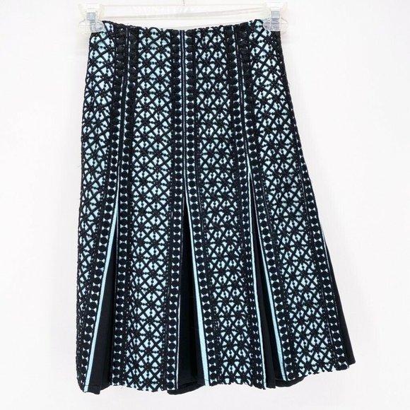 Nanette Lepore Dresses & Skirts - Nanette Lepore Womens A Line Skirt Black Blue Geom